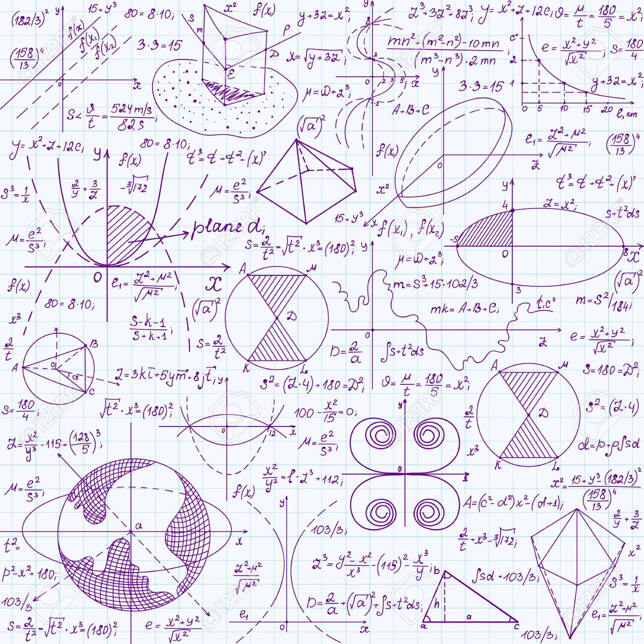 Math Education Vector Seamless Pattern With Handwritten Formulas ...