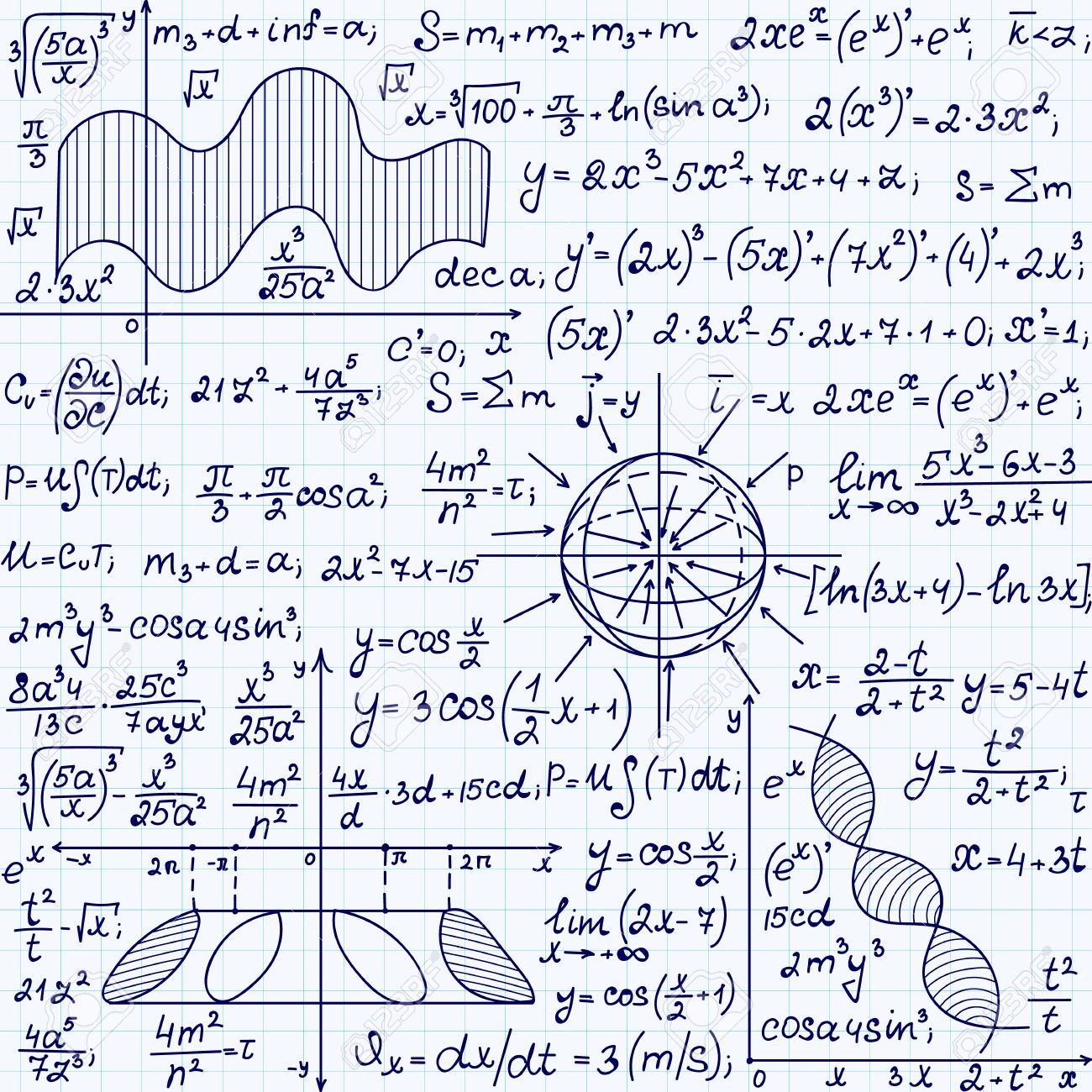 Math Vector Seamless Pattern With Science Drawings, Tasks Solutions ...