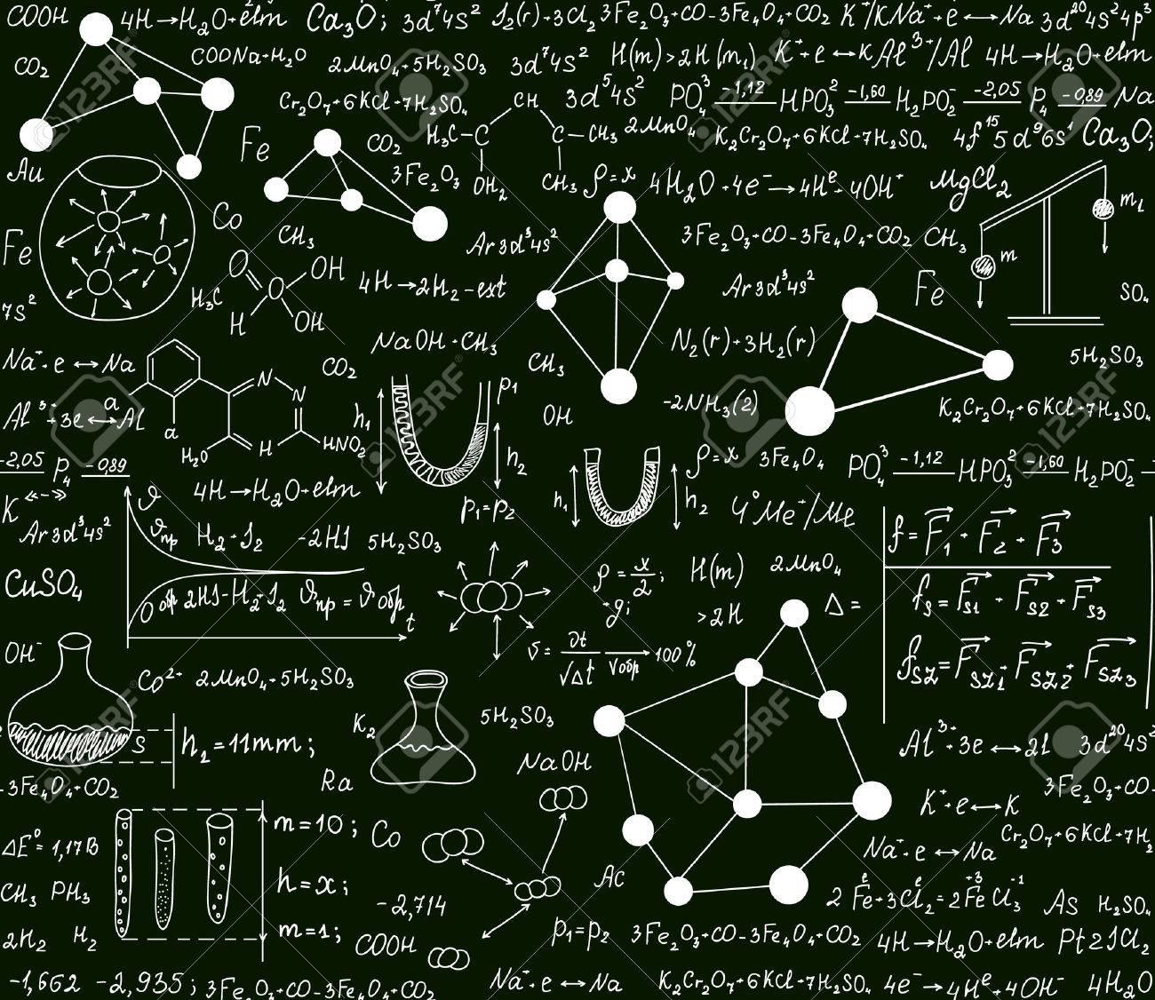 Chemische Nahtlose Muster Mit Formeln, Schemata Und Gleichungen ...