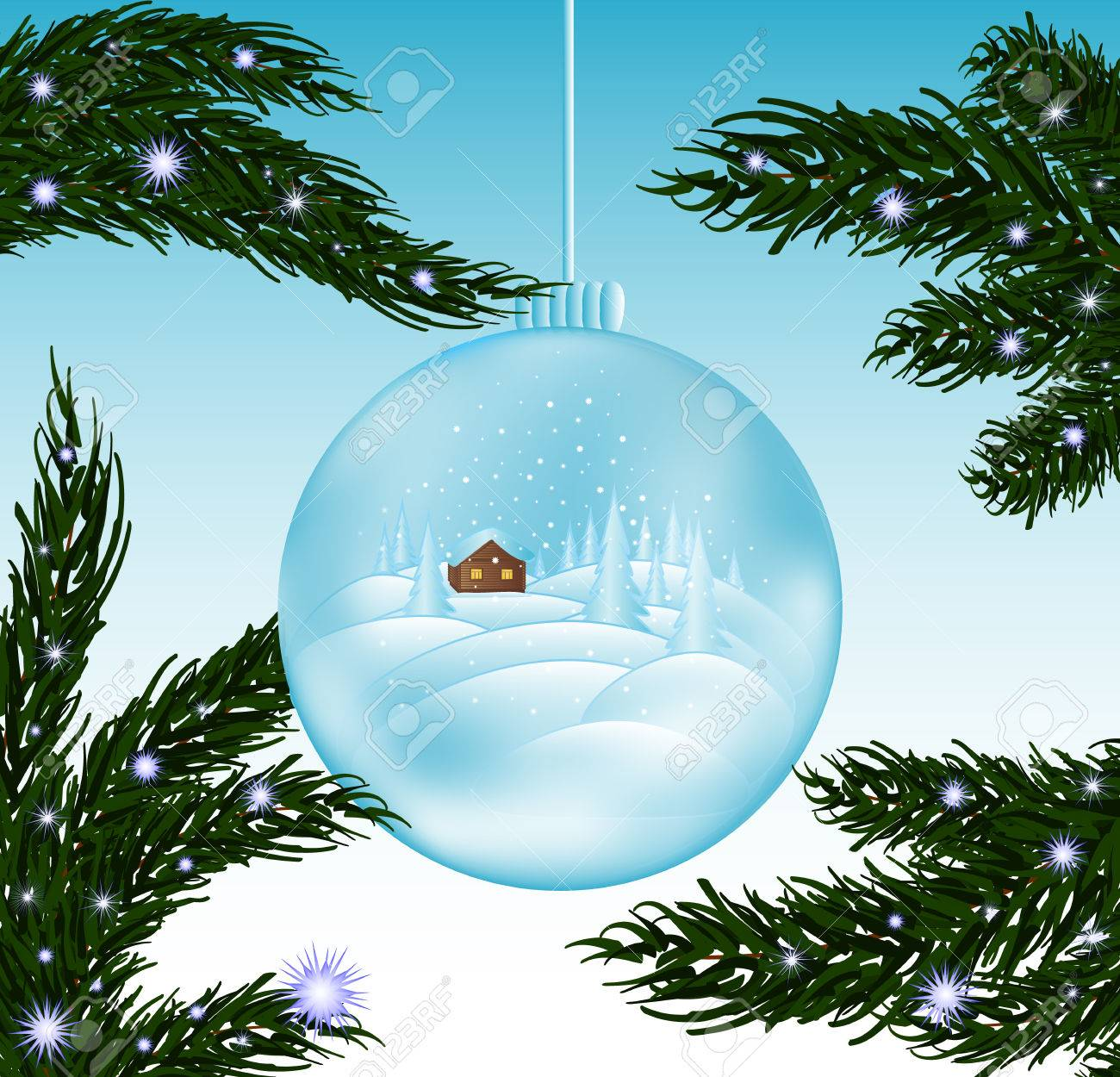 Frohe Weihnachten Schöne Vektor Gruß Cad Mit Glas Schneeball Und ...