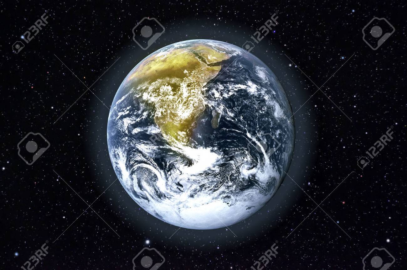 Stars and planet Earth in the space. Elements of this image furnished by NASA. Stock Photo - 24681777