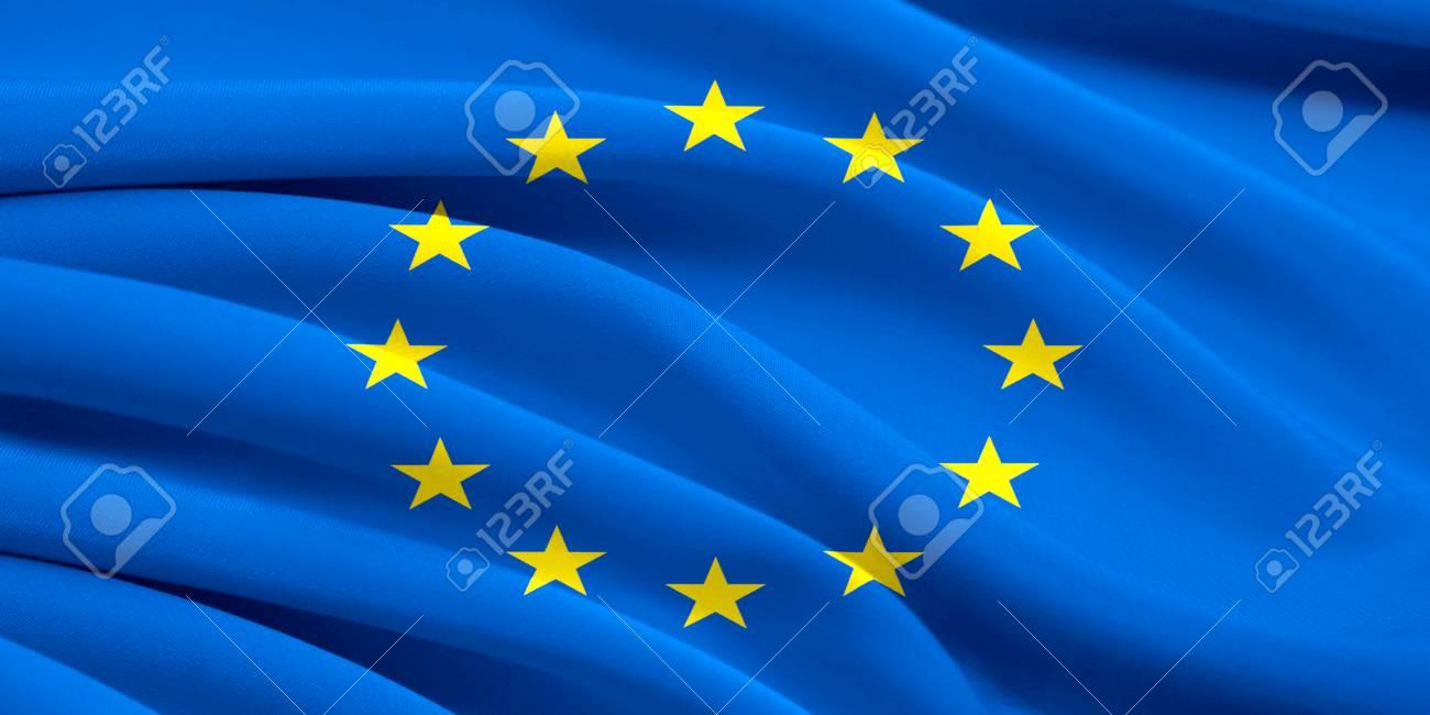風になびかせてヨーロッパ連合の...