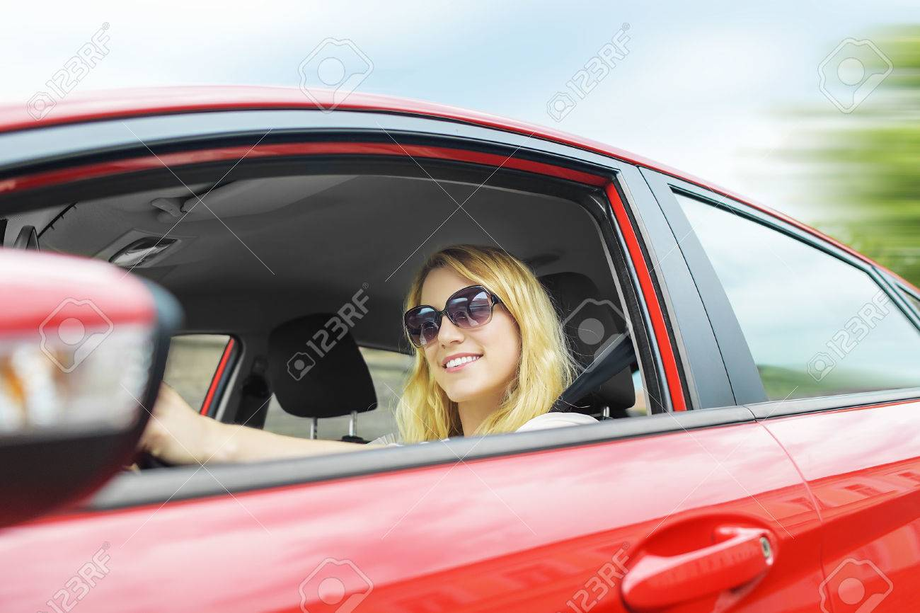 Image Red A Photo Picture Free Image Pretty Blonde Woman Royalty And 42628370 Car Drive Stock