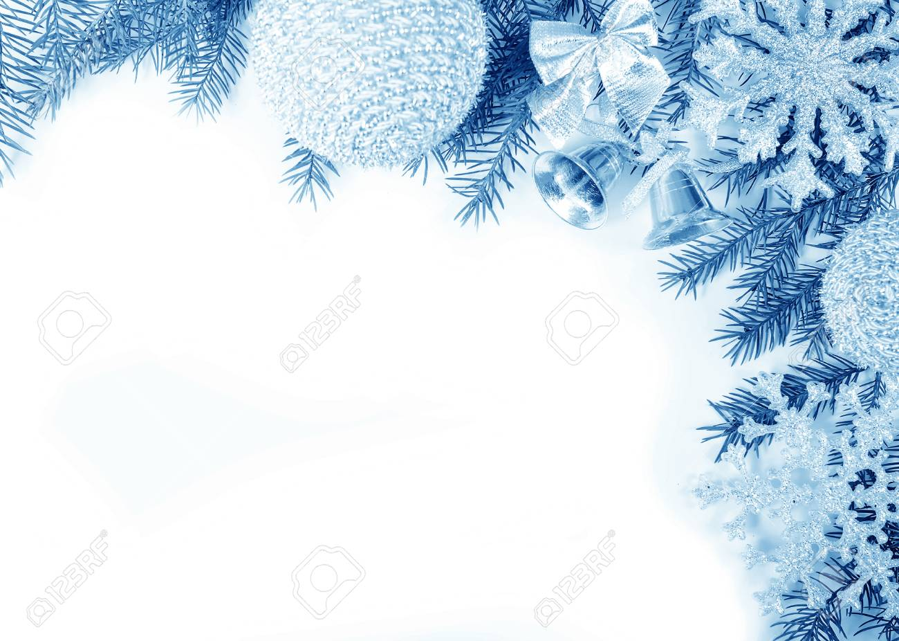 Cadre De Noël Dans Les Tons Bleus Pour Carte De Voeux Banque D