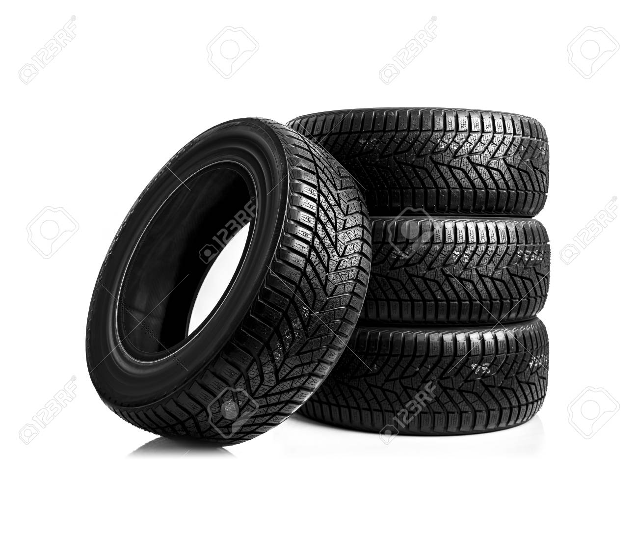 Winter tires on a white background. - 89724283