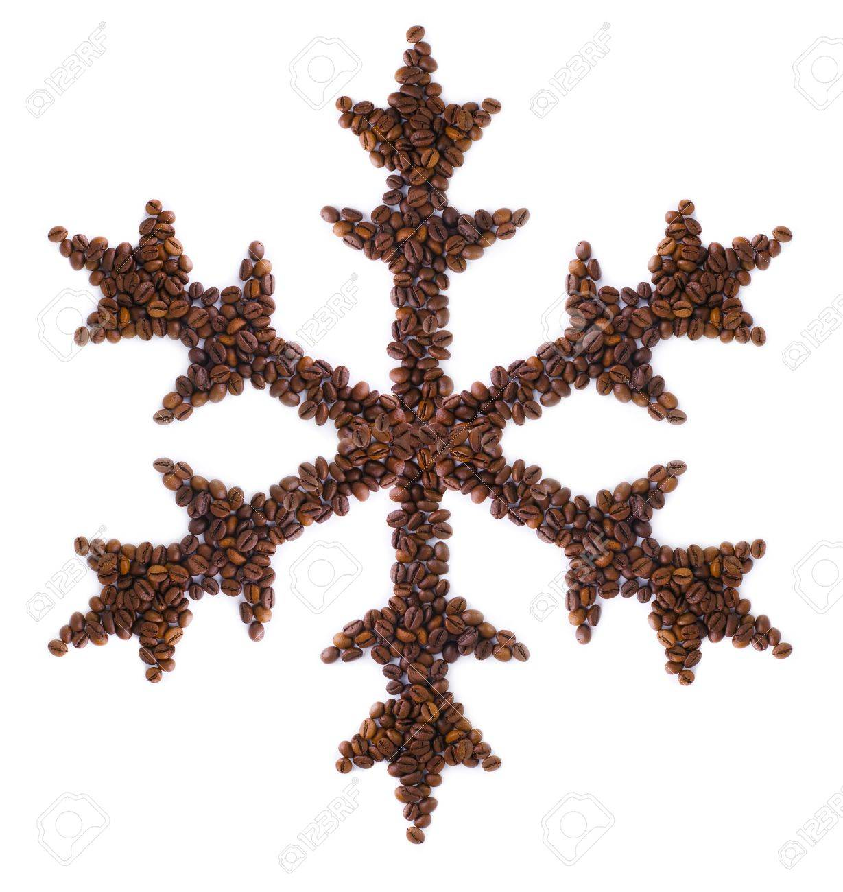 Snowflake Made Of Coffee Beans Stock Photo Picture And Royalty Free
