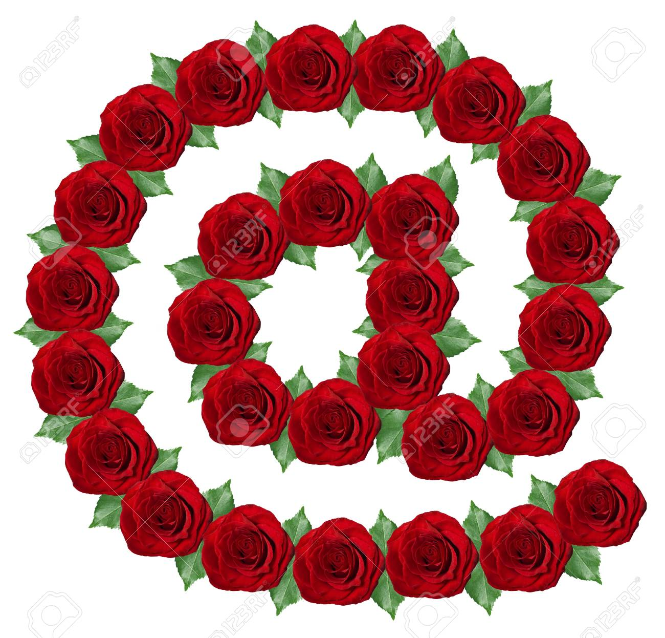 E-mail symbol made from red roses and green leaves  isolated on a white background Stock Photo - 17004413