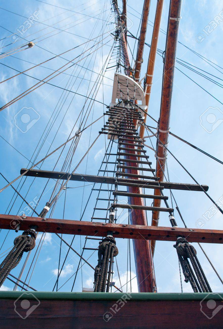 Rope Ladder To The Main Mast Of The Ship On Blue Sky Background ... for Rope Ladder Ship  83fiz