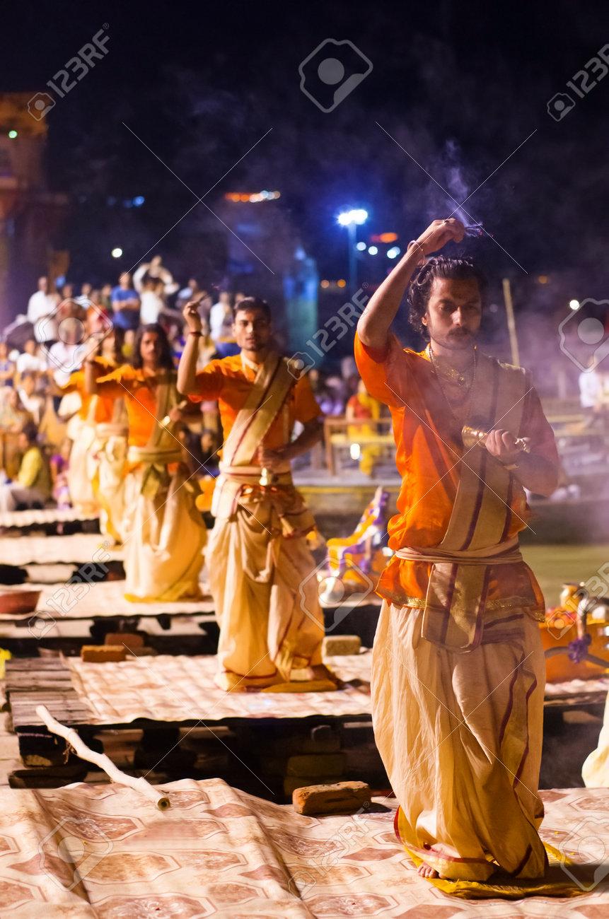 VARANASI, INDIA-30 SEPT: A Hindu Priest Performs The Ganga Aarti ...