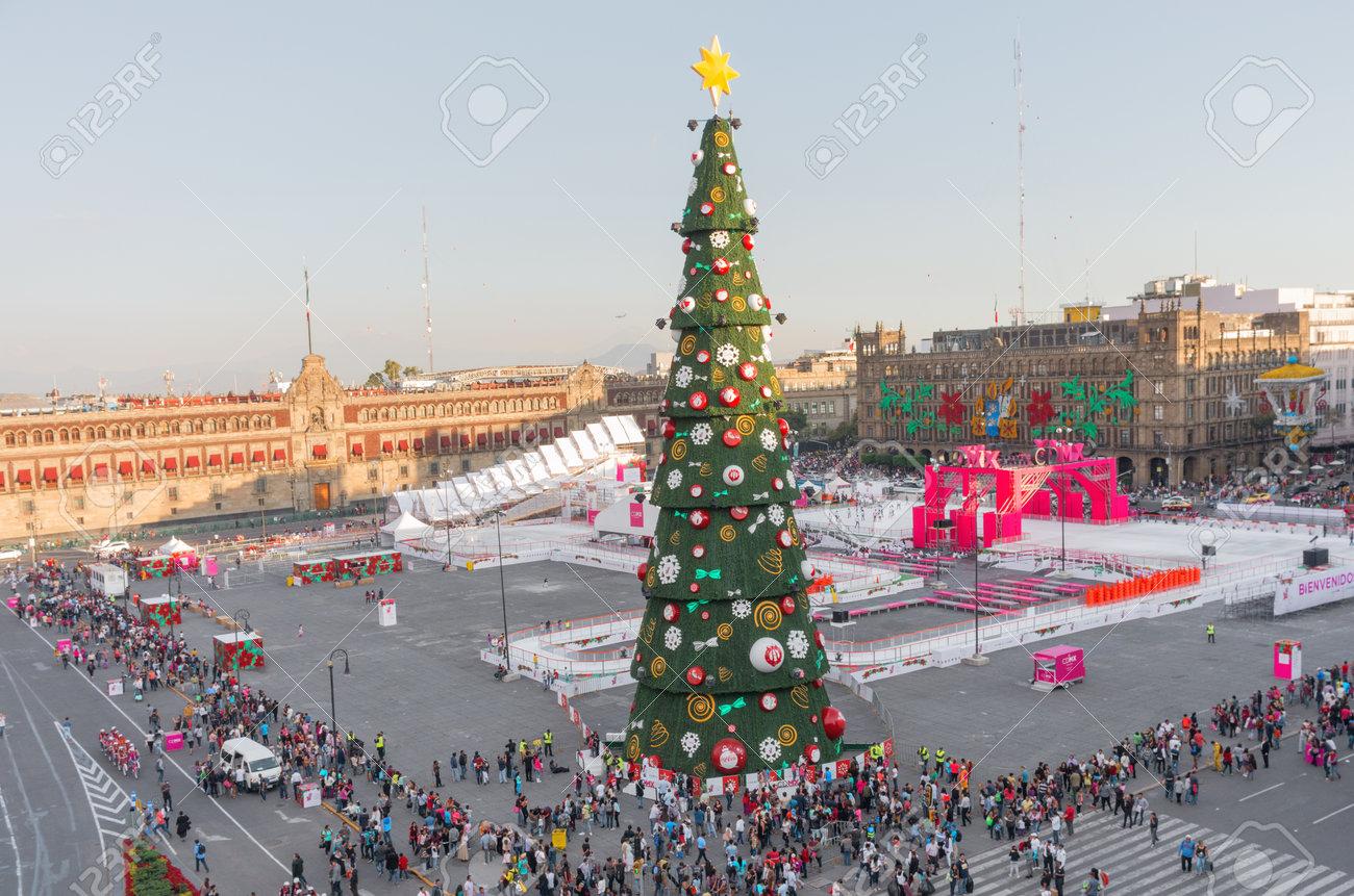 Christmas Ice Skating Rink Decoration.Mexico City Mexico December 3 2016 Christmas Tree Decorations