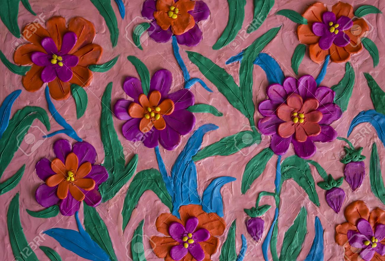 Colorful Spring Flowers Made Of Plasticine Kid Stock Photo Picture