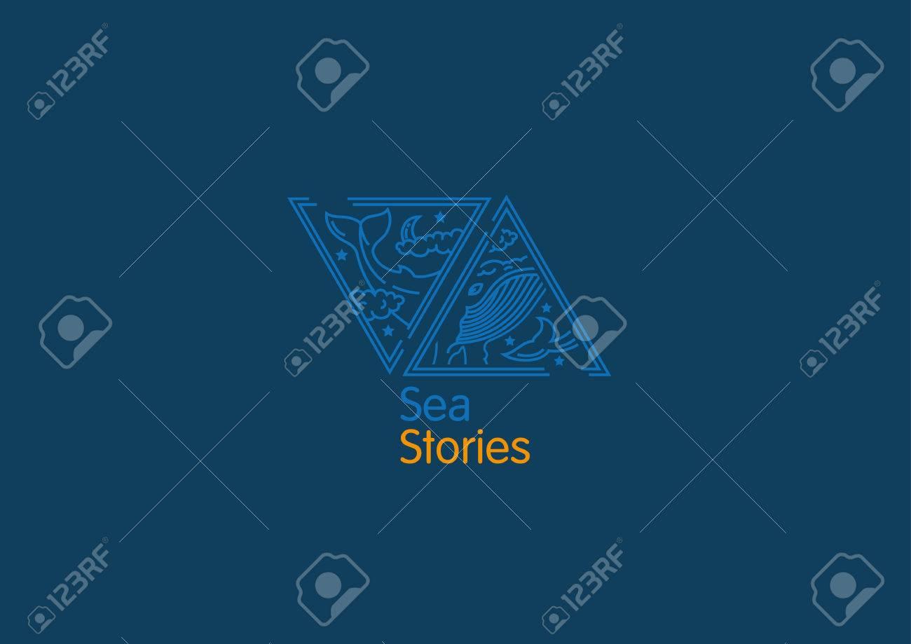 創造的なロゴ海物語雲の中のクジラのイラスト素材ベクタ Image
