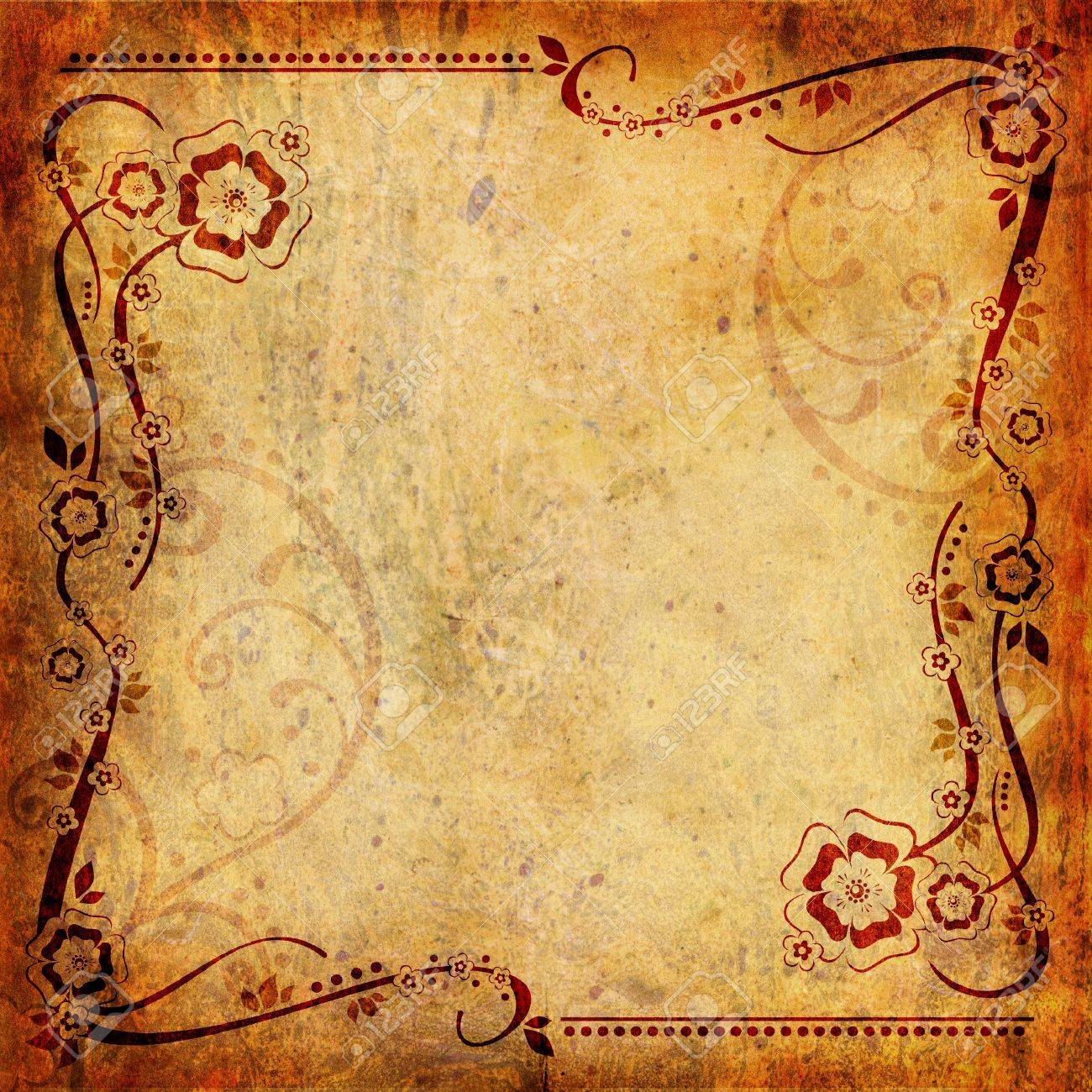 Vintage background with flower and leaf - 14833567