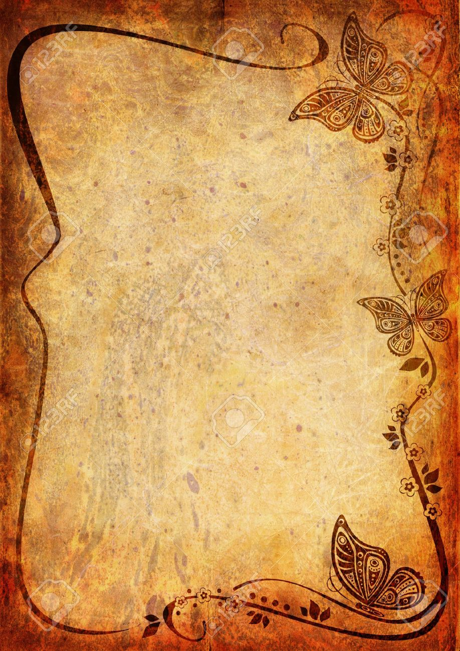 Vintage background with butterfly and leaf - 14835233