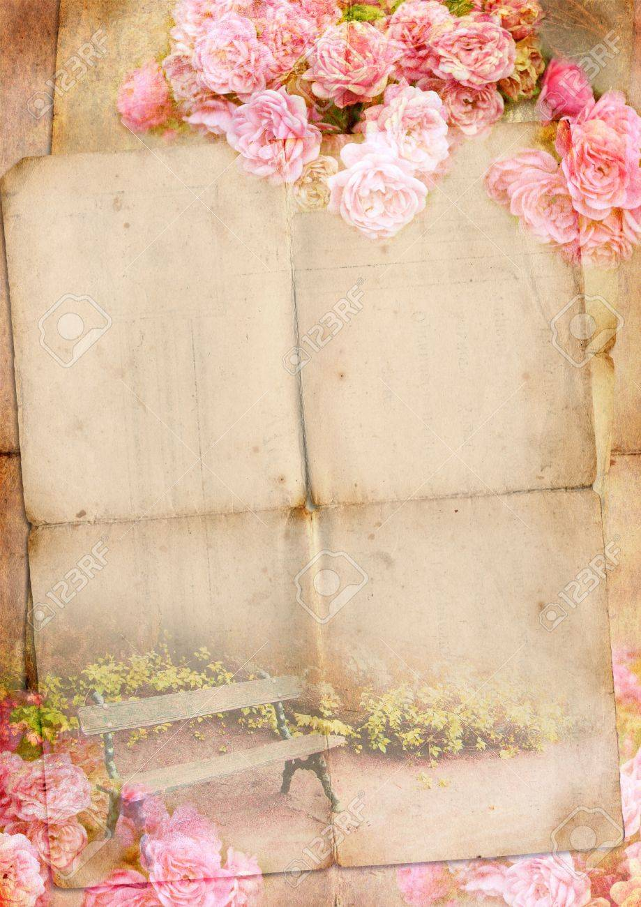 Blank for romantic letter with roses - 14833488