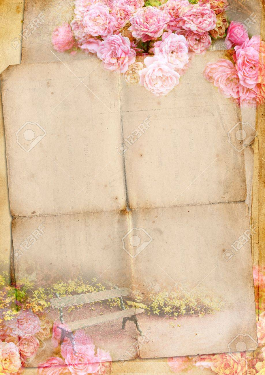 Blank for romantic letter with roses - 14833433