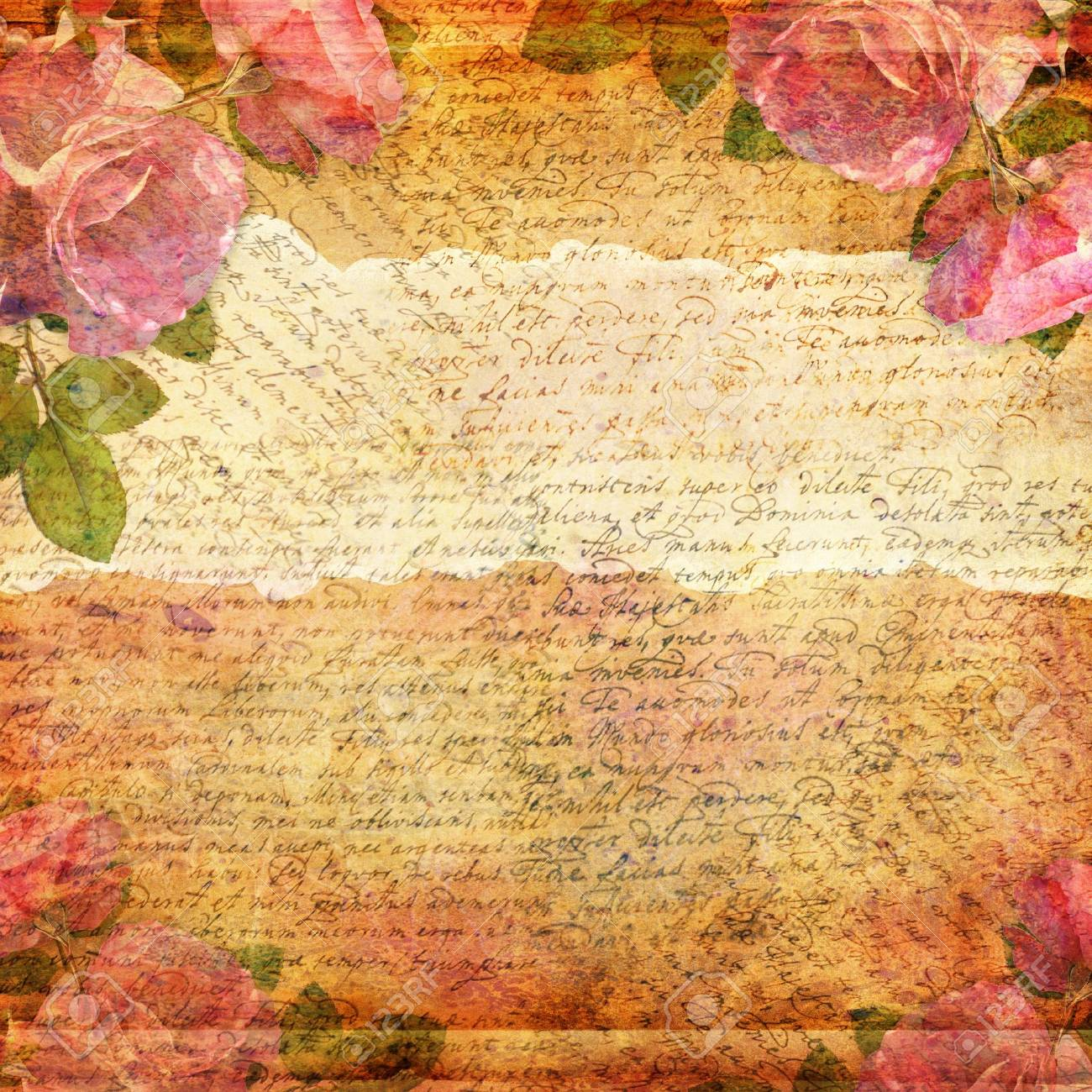 Grunge abstract background with roses - 14835605