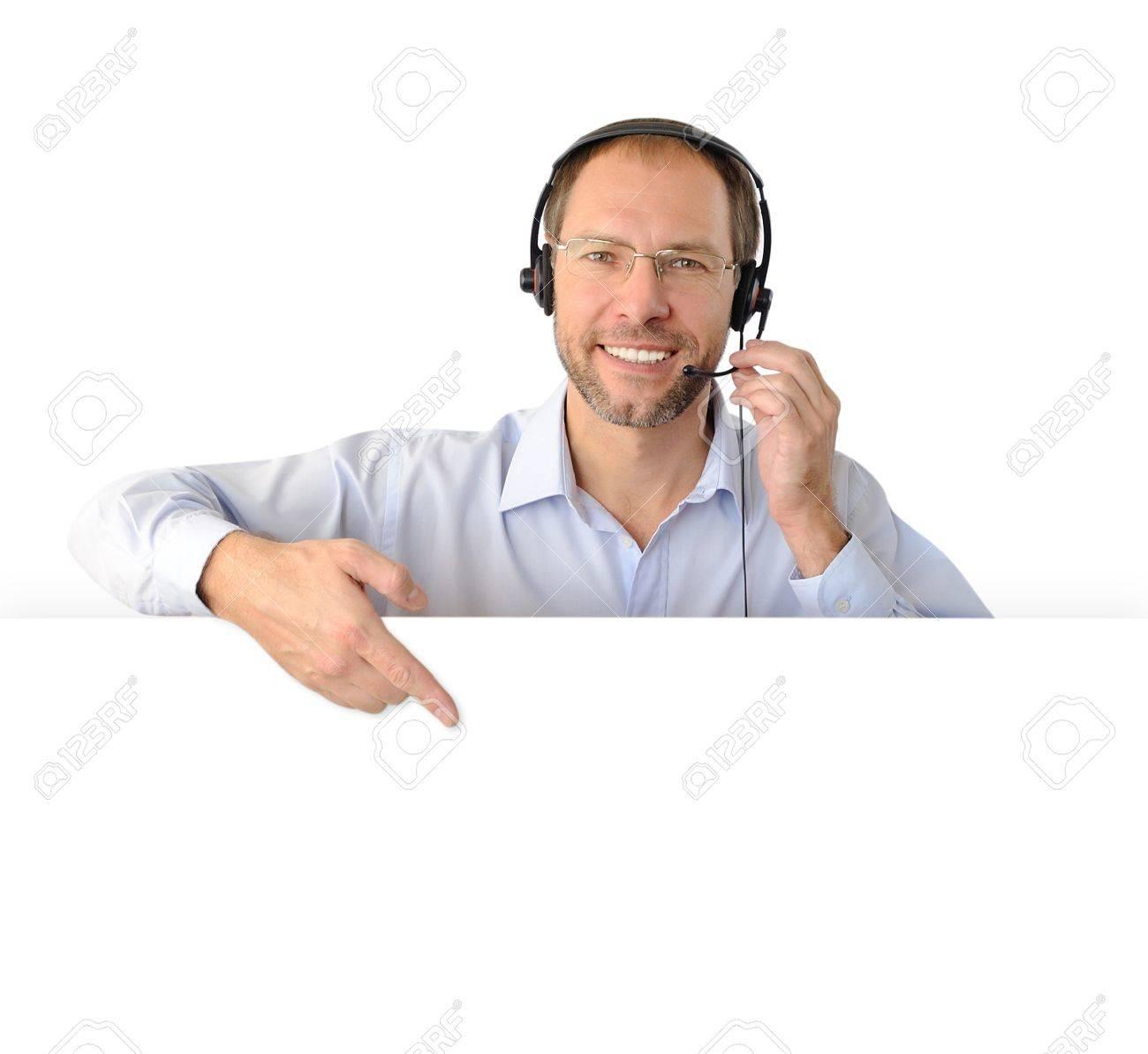 Portrait of phone operator isolated on white background - 16234562