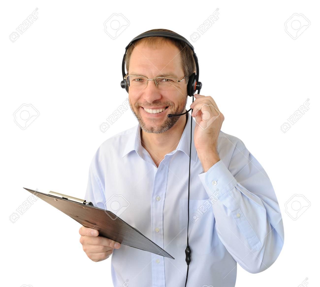 Portrait of phone operator isolated on white background - 16234548