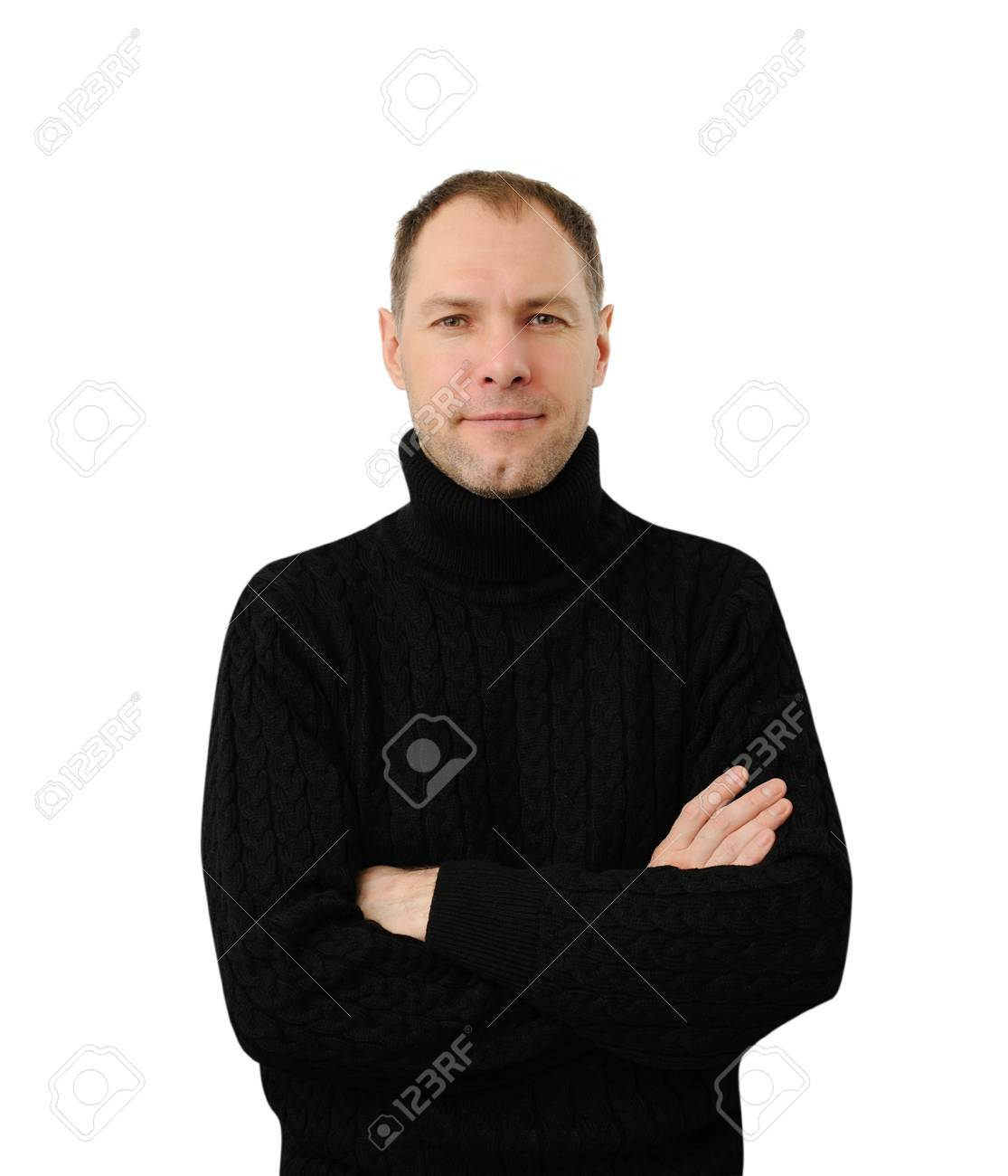 Sly smiling man in black isolated on the white background - 17337012