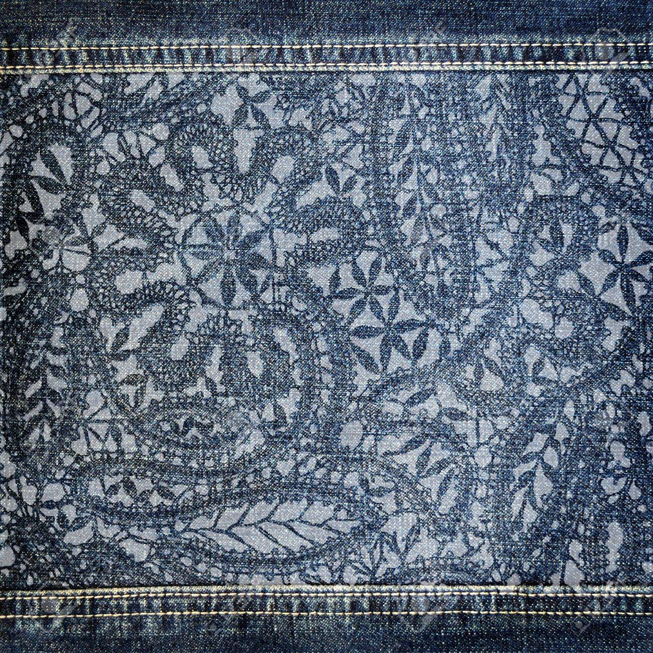 Background denim texture with lace pattern - 17933906