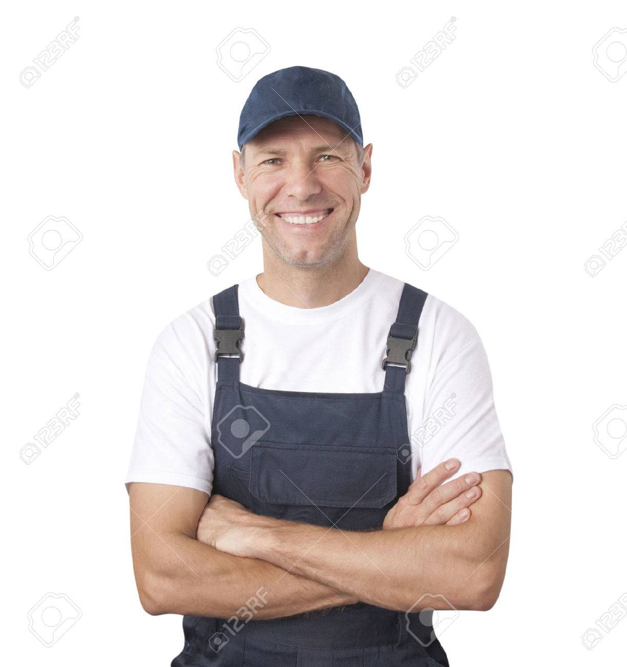 Portrait of smiling worker in blue uniform isolated on white background - 23728384