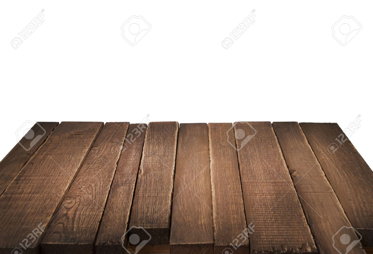 Plain wood table with hipster brick wall background stock photo - Wood Table Perspective Wood Table In Perspective On White Background