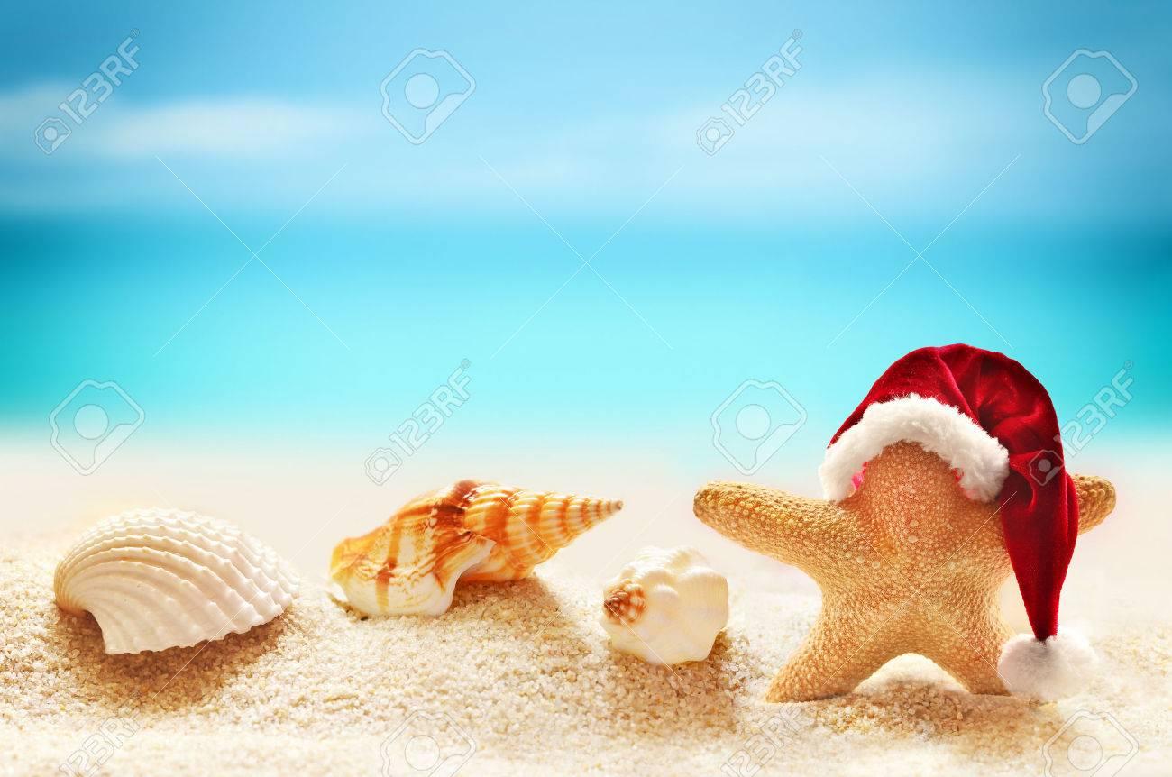 b76d87b7f5f16 Starfish in santa hat on summer beach and merry christmas Stock Photo -  45712482