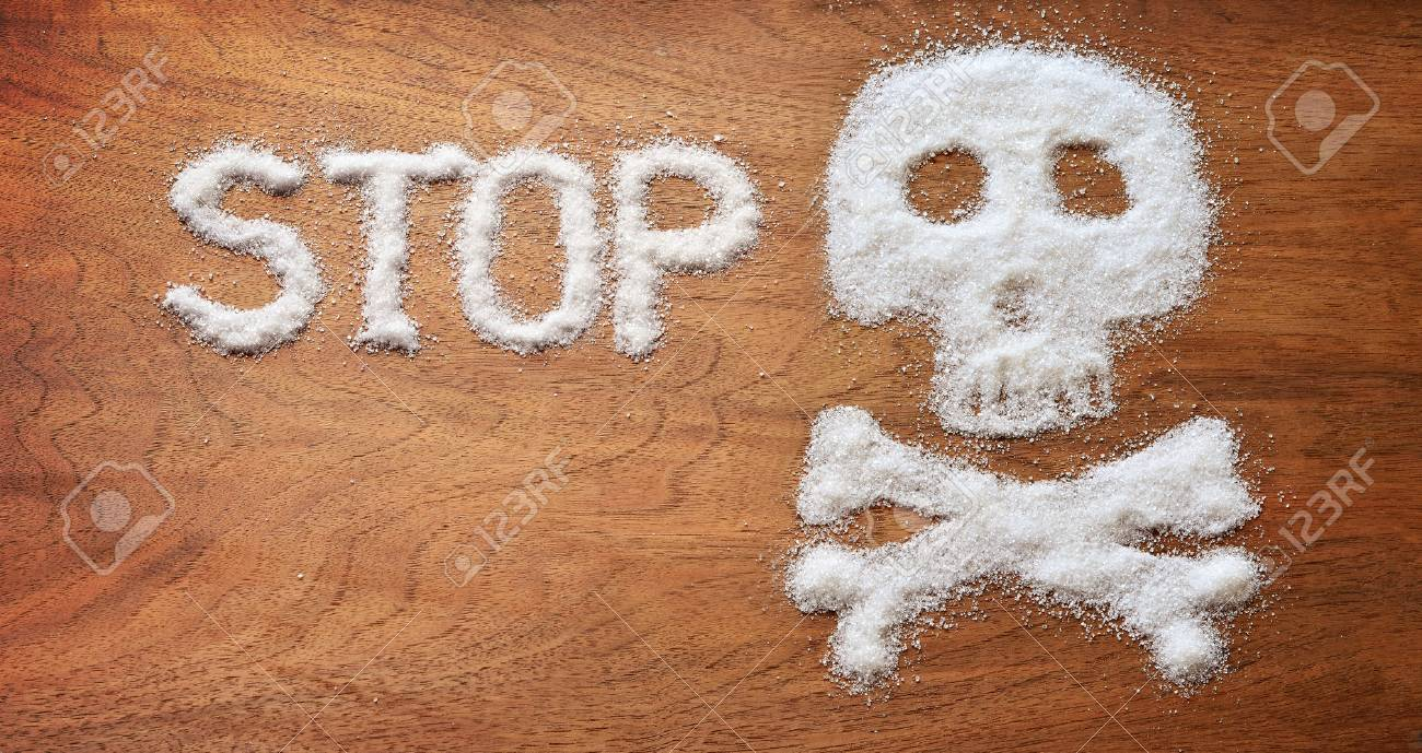 Unhealthy concept. White sugar objects on brown wooden background. - 56019833