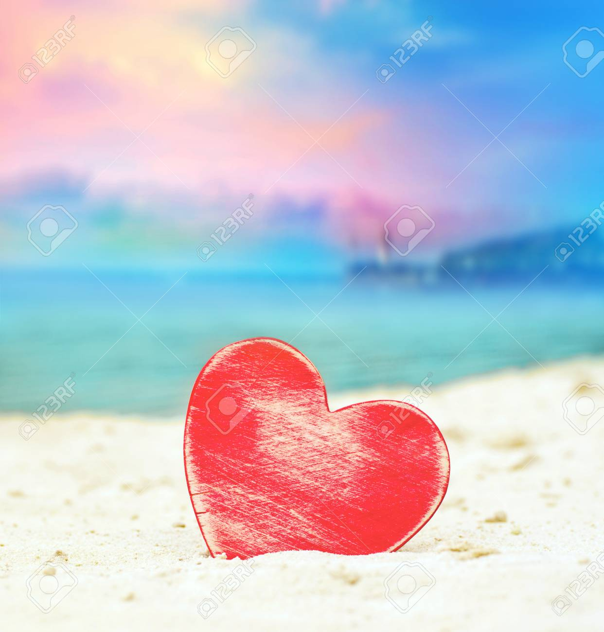 Heart On The Summer Beach Valentines Day Stock Photo Picture And