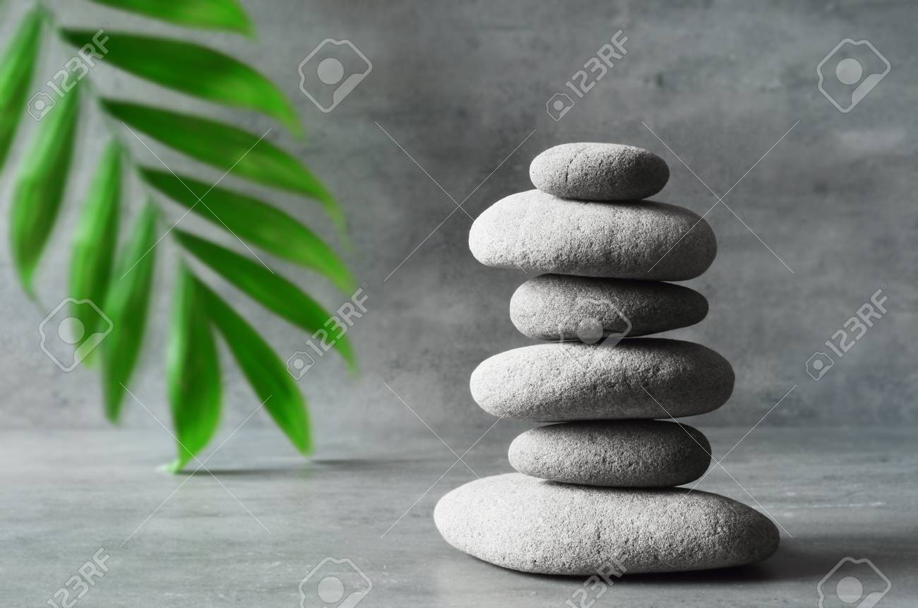 Stones And Green Palm Leaf Balance Zen And Spa Concept Stock