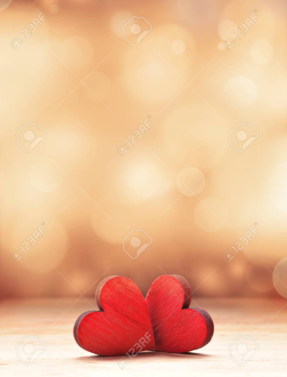 Two Red Wooden Hearts. Valentines day concept. - 135287972