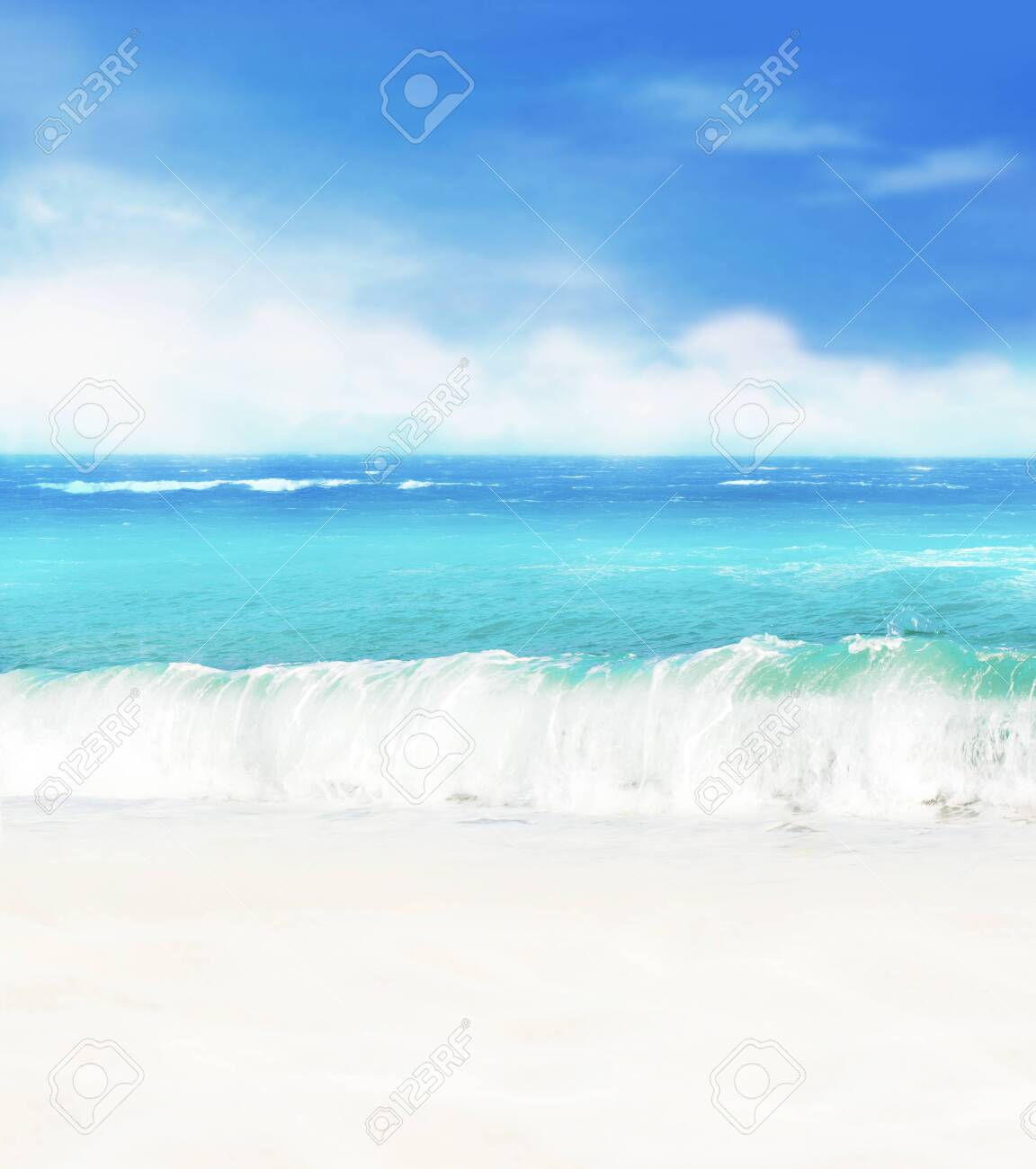 Summer background. White sand beach on a background of blue sea and blue sky. - 141153891