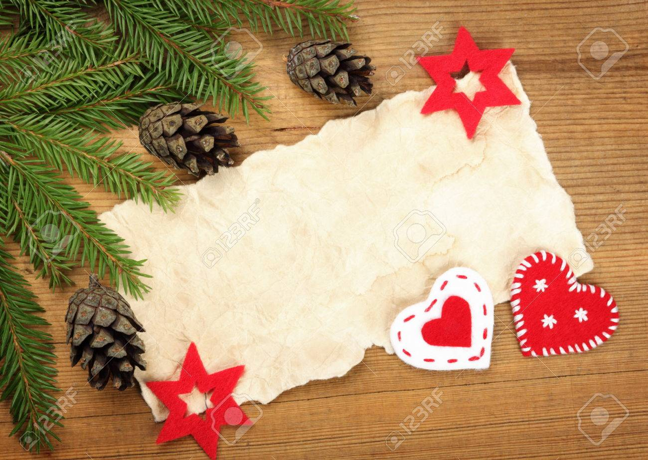 Blank Old Paper Sheet With Christmas Tree Branches And Decorations