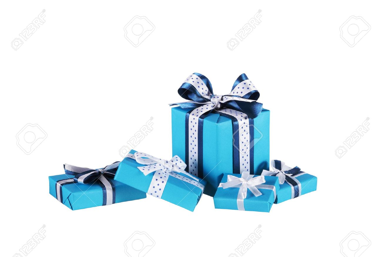 Wrapped blue gift boxes with ribbon bows isolated on white wrapped blue gift boxes with ribbon bows isolated on white 48282349 negle Choice Image
