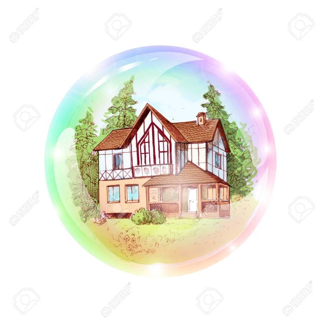 Una Casa De Dos Pisos En Una Burbuja. El Sueño De Comprar O ...