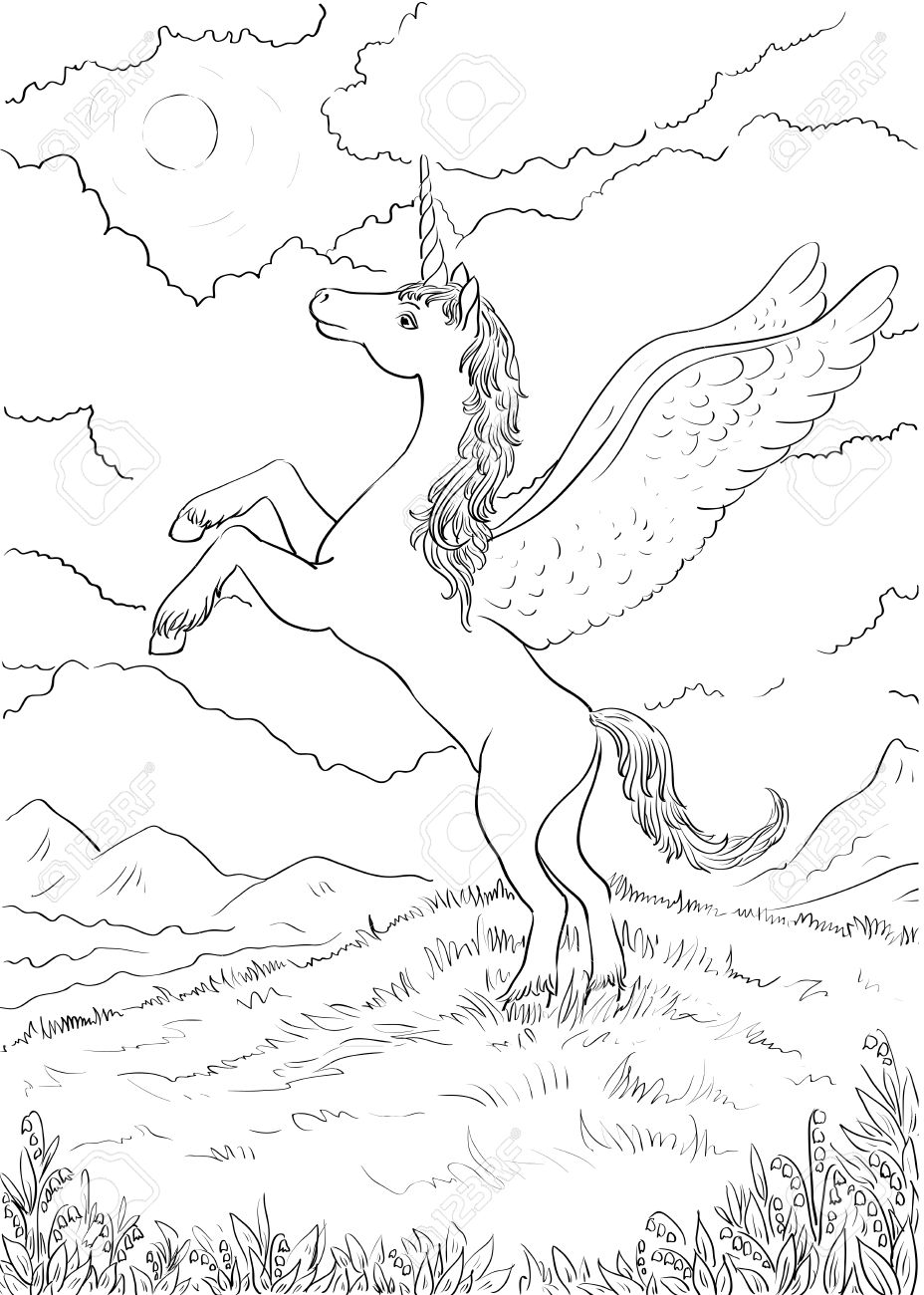 Hand Drawn Magic Unicorn For Children. Coloring Page With High ...