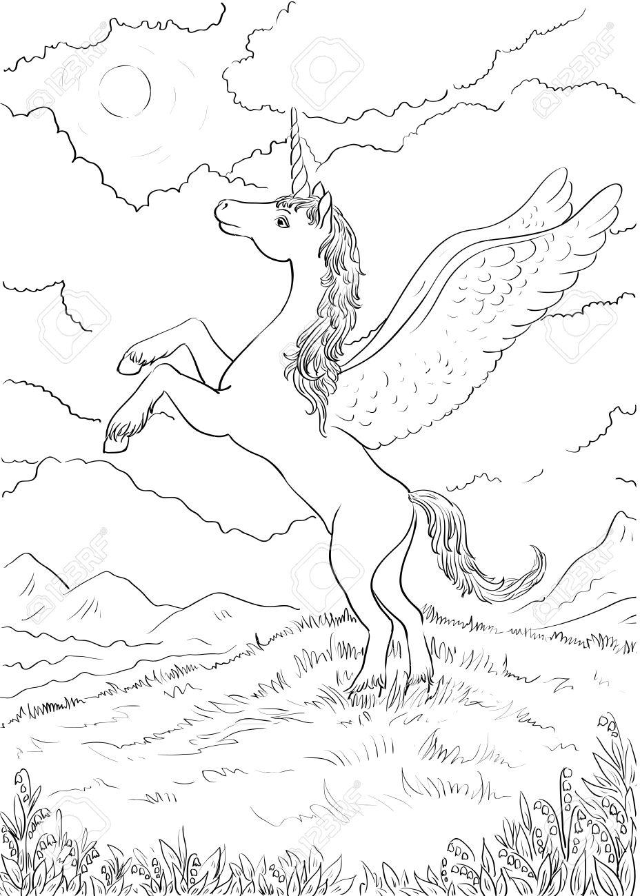 Tiree Par La Main Magique Unicorn Pour Les Enfants Coloriage Avec