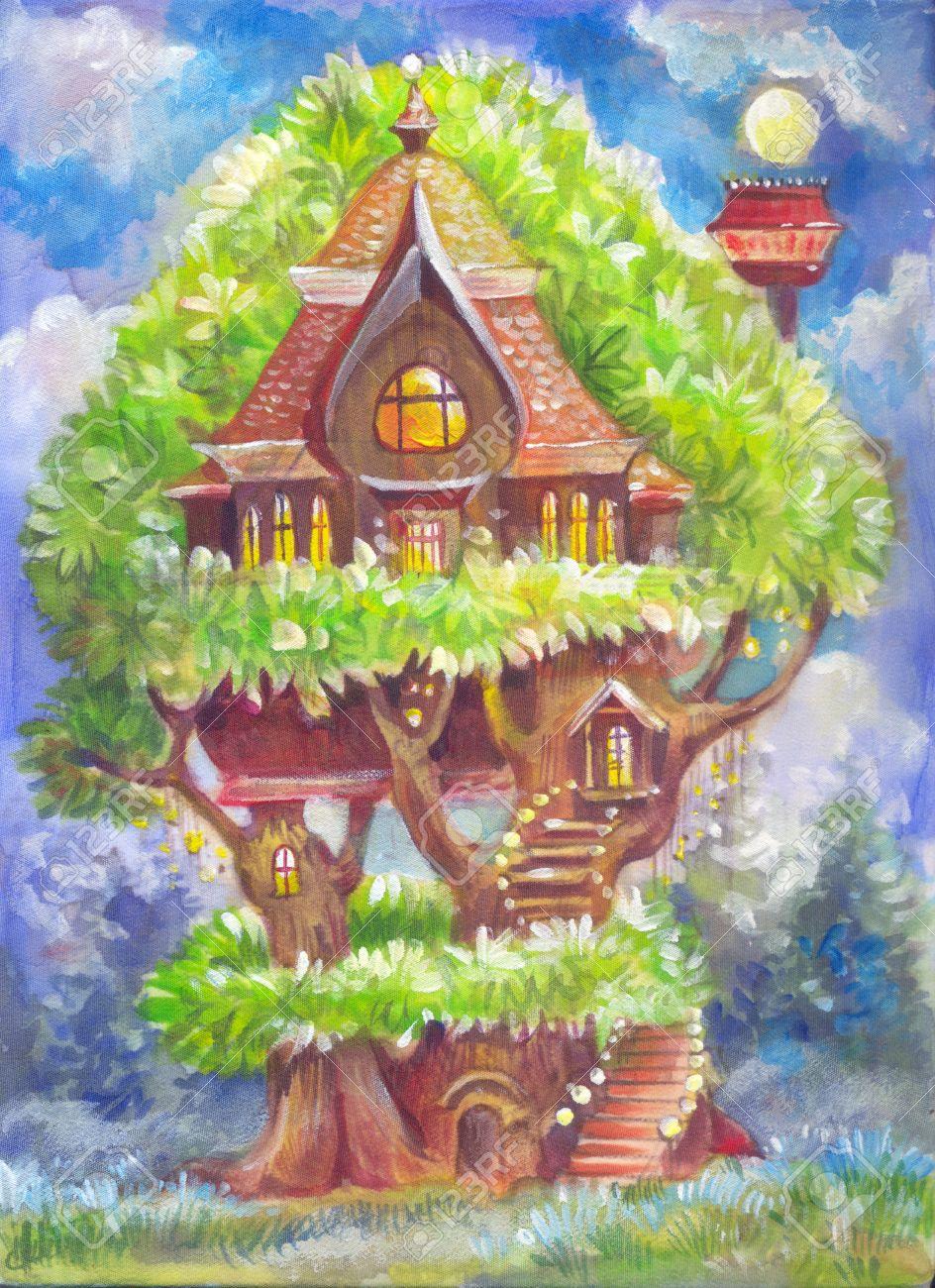 幻想的な木の家と子供のイラスト キャンバス上の手によって描かれた絵をファンタジーします イラスト 本 背景 ポスター ポストカード 子供用品のための図面 保育園の壁紙 の写真素材 画像素材 Image