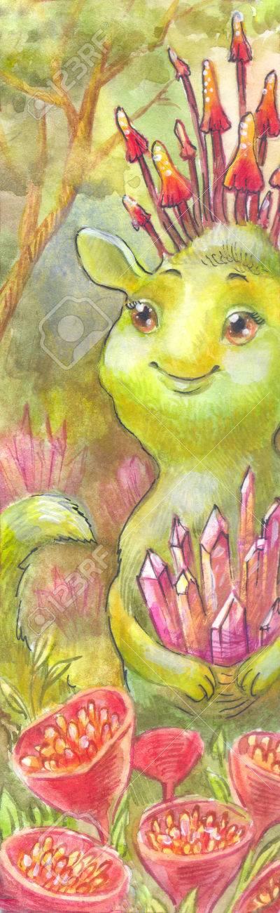 妖精魔法の水彩イラスト緑絵森ドワーフ宝石の外国人神秘的な森