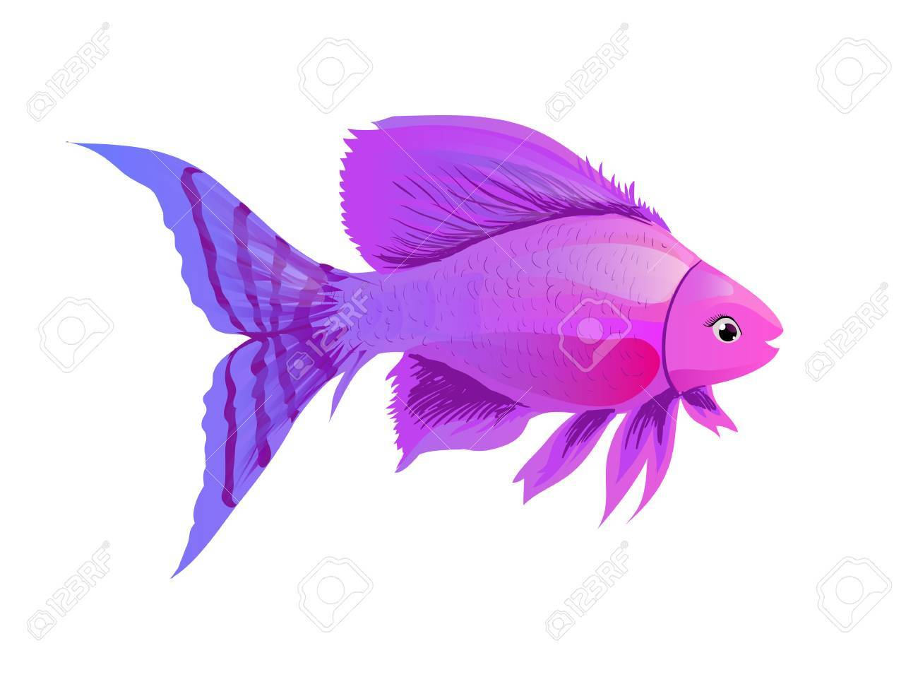 Historieta De Los Pescados De Color Púrpura. Bosquejo, Ejemplo De ...