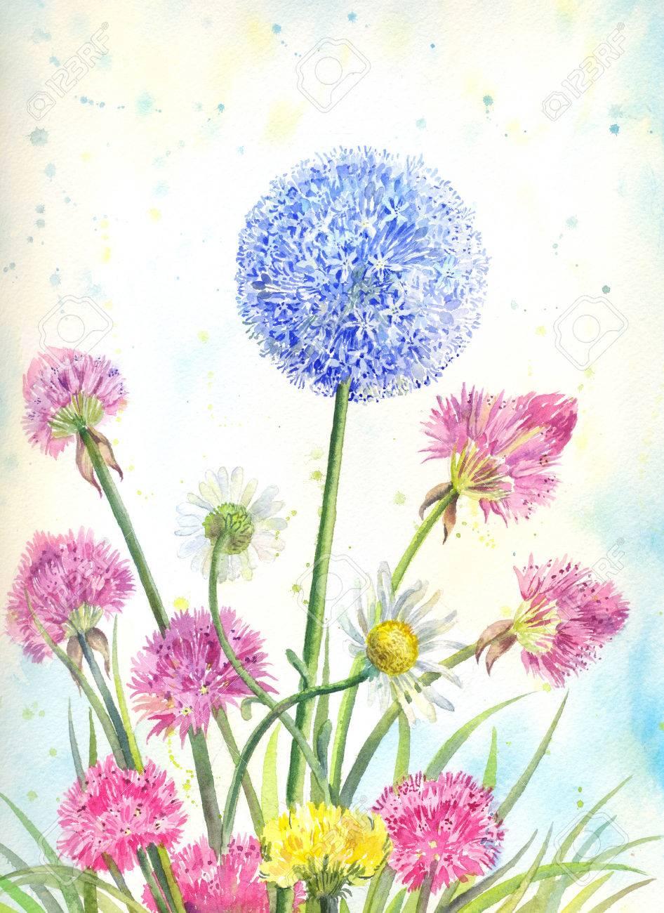 Bouquet De Fleurs Sauvages A L Aquarelle Illustration Florale D Ete