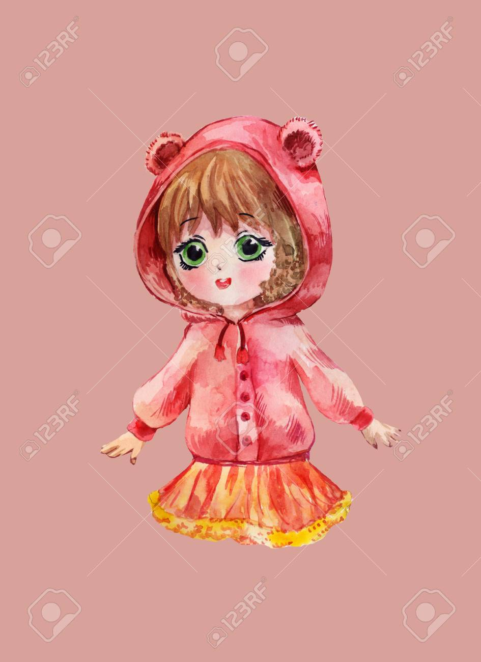 Chibi girl in red hoodie little anime child watercolor illustration stock illustration 93964267