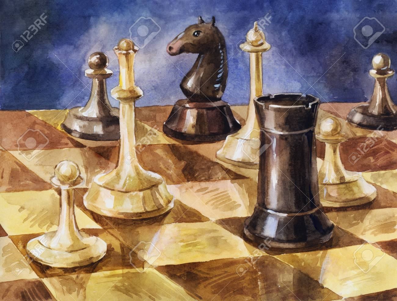 Chess Pieces On The Game Board. Watercolor Illustration For Poster,  Background, Poster Or