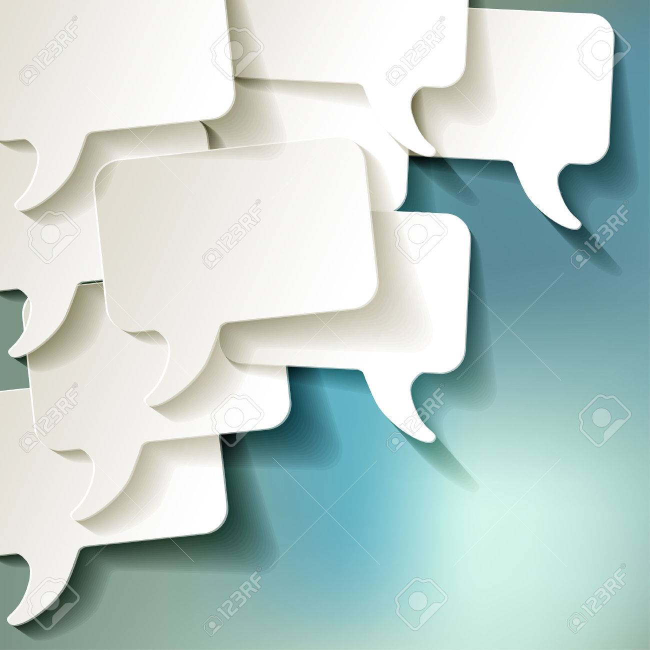 chat speech bubbles vector white on a blue bokeh background - 44220824