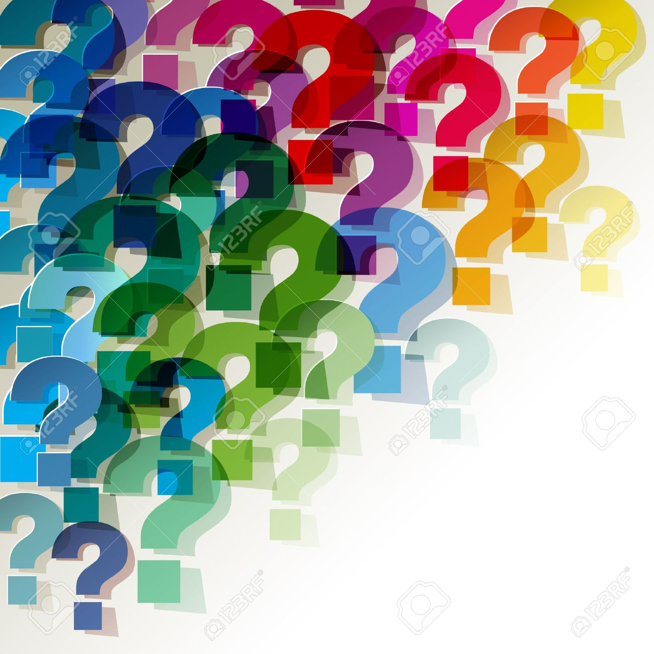 Question Marks colorful transparent in the corner on a white background - 44329526