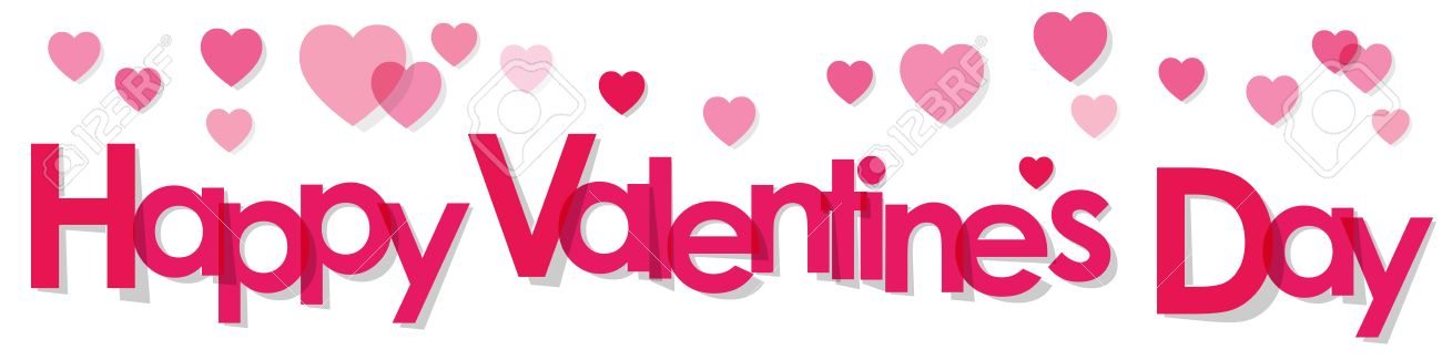 Valentine S Day Banner Pink Letters On A White Background Royalty