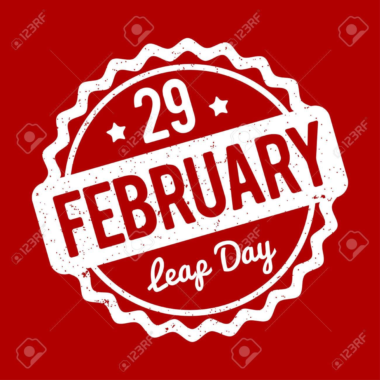2 月 29 日閏日の赤い背景の上のスタンプ。のイラスト素材・ベクタ ...