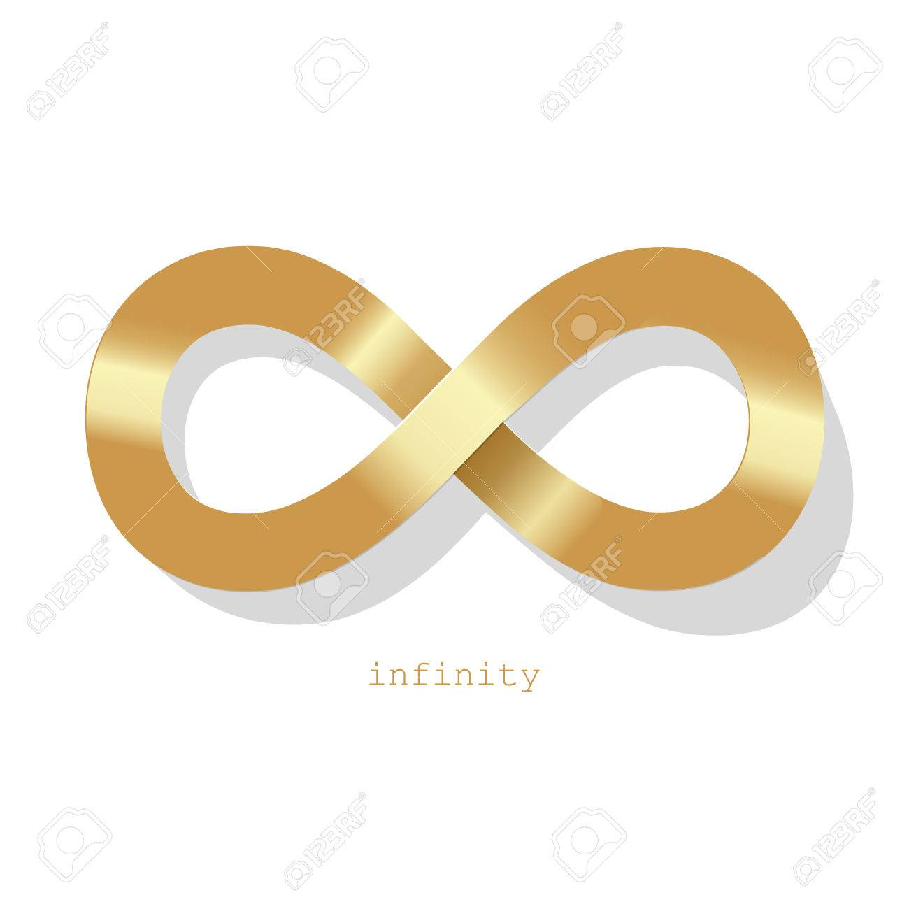 Infinity Symbol Gold On A White Background Royalty Free Cliparts