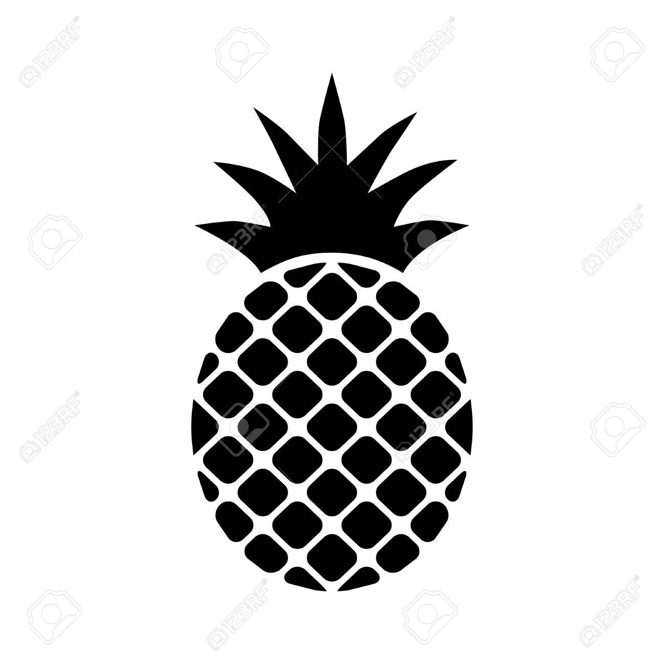 Pineapple Ananas Icon Black On A White Background. Royalty Free ... for Clipart Pineapple Black And White  570bof